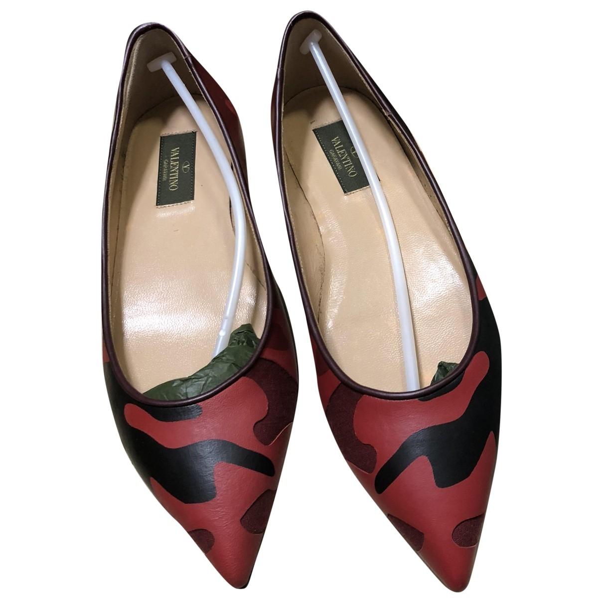 Valentino Garavani - Ballerines   pour femme en cuir - rouge