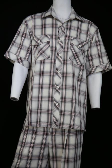 Mens Single Pocket Short Sleeve Black 2pc Shirt and Pants