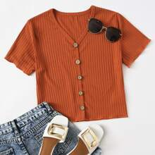 Rib-knit Button Front Solid Tee