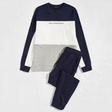 Pullover mit Buchstaben Grafik und Farbblock & Jogginghose Set mit Kordelzug auf Taille