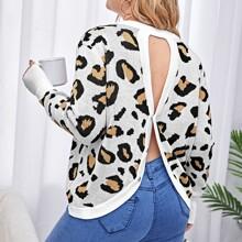 Pullover mit Grafik Muster, Knopfen hinten und Ausschnitt
