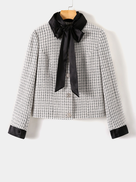 YOINS White Bowknot Plaid Long Sleeves Blazer