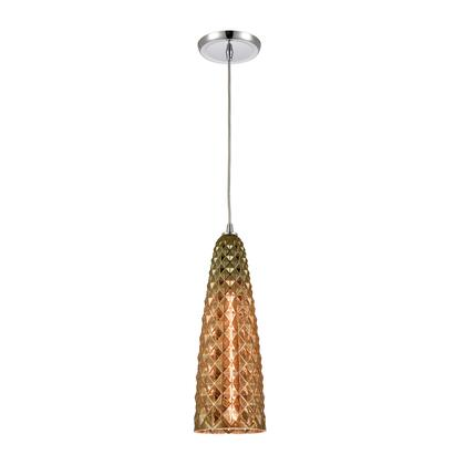 21168/1 Glitzy 1-Light Mini Pendant in Polished Chrome with Golden Bronze Plated