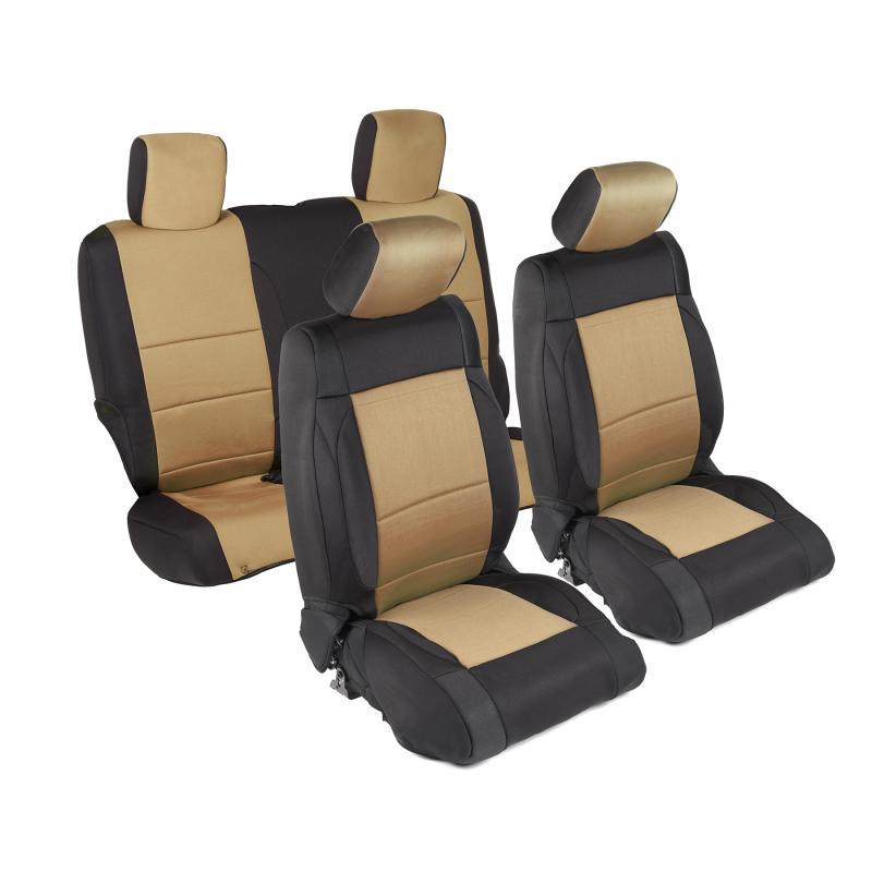 Neoprene Seat Cover 07-12 Wrangler JK 2 DR Set Front/Rear Tan Smittybilt