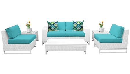 Miami MIAMI-07e-ARUBA 7-Piece Wicker Patio Furniture Set 07e with 2 Armless Chairs  2 End Tables  1 Coffee Table  1 Left Arm Chair and 1 Right Arm