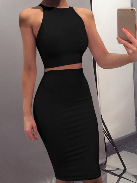 Yoins Halter Sleeveless Two-piece Vest Dress