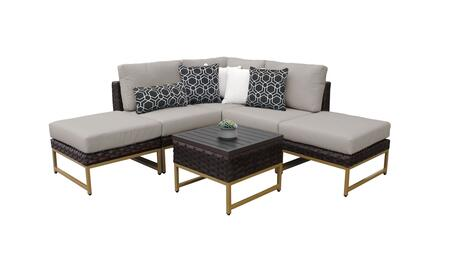 Barcelona BARCELONA-06b-GLD 6-Piece Patio Set 06b with 1 Corner Chair  2 Armless Chairs  2 Ottomans and 1 End Table - 1 Beige Cover with Gold