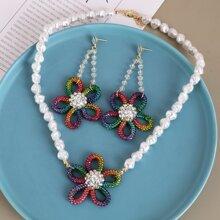 3pcs Faux Pearl & Flower Decor Jewelry Set