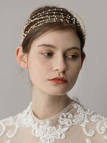 Milanoo Red Wedding Headpieces Headband Tiered Bridal Hair Accessories