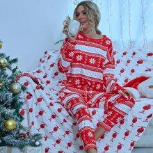 Top mit Weihnachten Muster, sehr tief angesetzter Schulterpartie & Hose