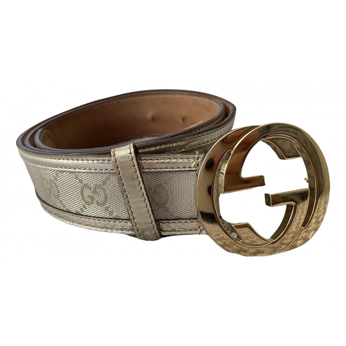 Gucci Interlocking Buckle Silver Cloth belt for Women 90 cm