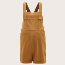 Maternity Overall Shorts mit Knopfen, Riemen und Taschen vorn