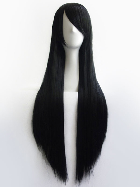 Milanoo Anime Girls' Wig Black Long Cosplay Wig 80cm Halloween