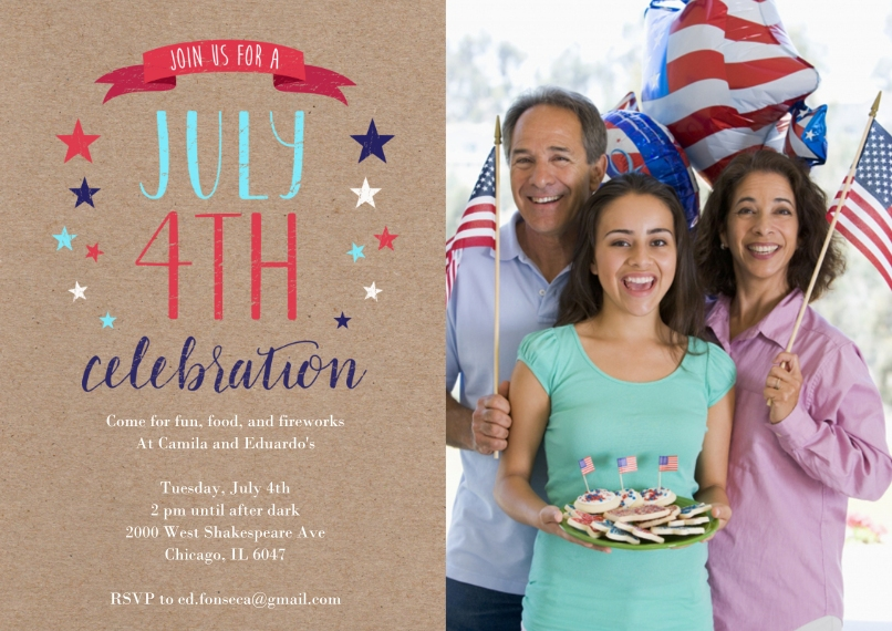 4th of July Photo Cards Flat Matte Photo Paper Cards with Envelopes, 5x7, Card & Stationery -July 4th Celebration Fun