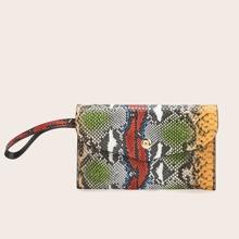 Tasche mit Schlangenleder Muster, Klappe und Armreif