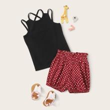 Toddler Girls Crisscross Back Cami Top & Confetti Heart Shorts