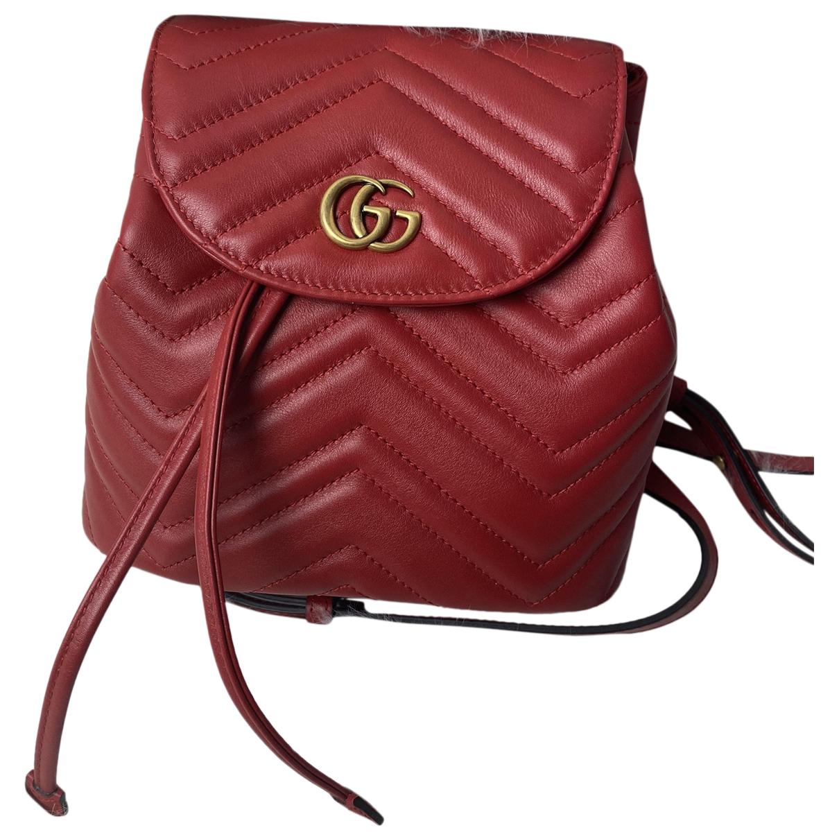 Gucci - Sac a dos Marmont pour femme en cuir - rouge