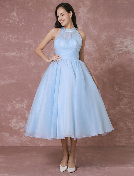 Milanoo Blue Wedding Dress Short Tulle Vintage Bridal Dress Halter Backless Ball Gown Cocktail Dress Tea-length Party Dress