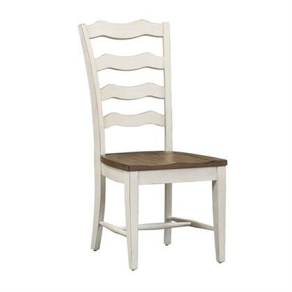 Parisian Marketplace Collection 698-C2000S Side Chair with Scalloped Ladderback Chair with Tapered Legs and Nylon Chair GlidesSide Chair in Two Tone