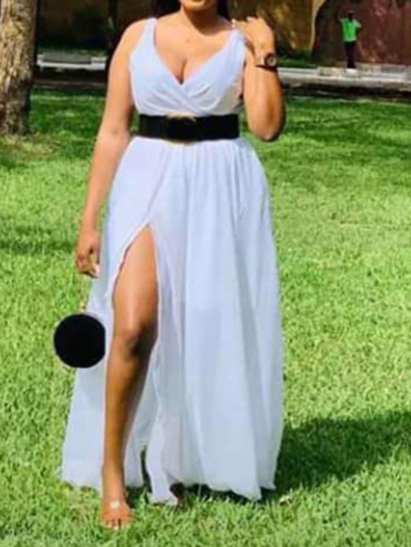 Ericdress Split Floor-Length Sleeveless Plain Mid Waist Dress(Without Waistband)
