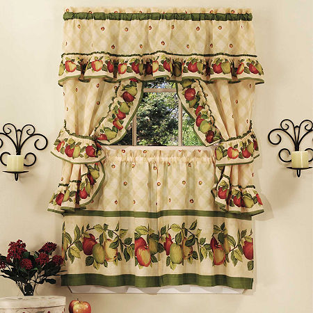 Apple Orchard 3-pc Set Rod-Pocket Window Tier and Ruffled Topper Set, One Size , Brown