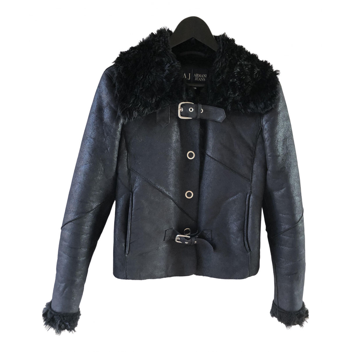 Armani Jeans \N Black Leather jacket for Women 40 IT