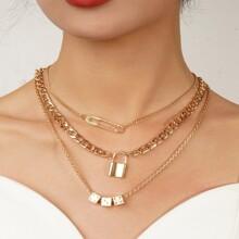 3 Stuecke Halskette mit Wuerfel & Schloss Dekor