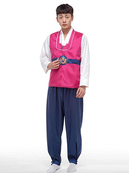 Milanoo Men's Korean Costume Hanbok Holloween Costume Outfit Traditional Korean Minority Clothing Top Pants Set