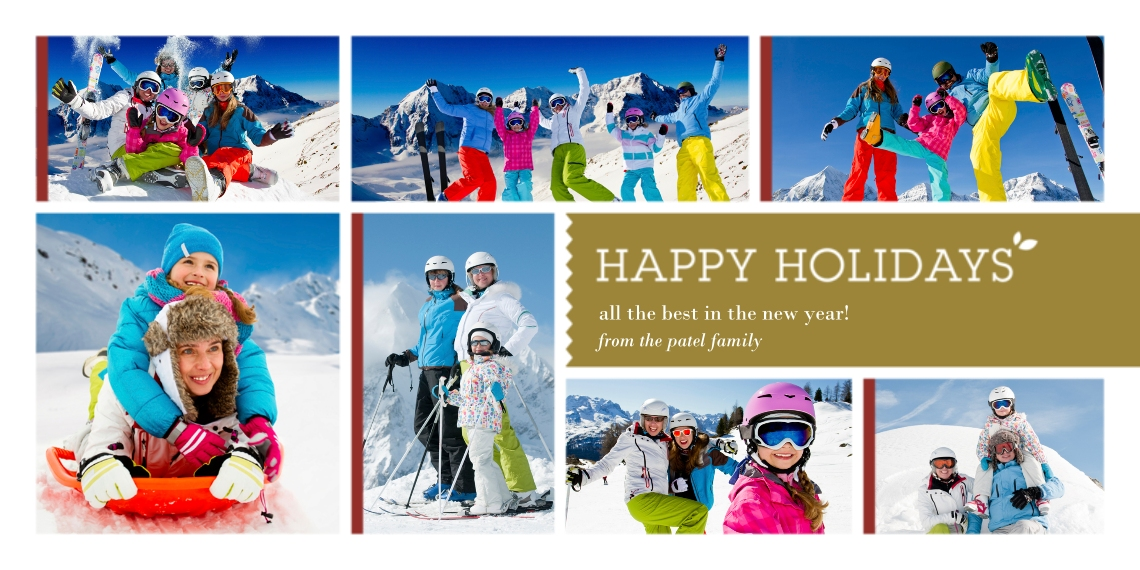 Holiday Photo Cards Flat Glossy Photo Paper Cards with Envelopes, 4x8, Card & Stationery -Multi-Photo Happy Holidays