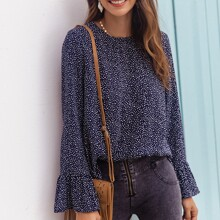 Flounce Sleeve All Over Print Top