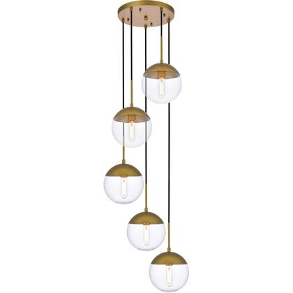 LD6079BR Eclipse 5 Light 18 inch Brass Pendant Ceiling Light With Clear White