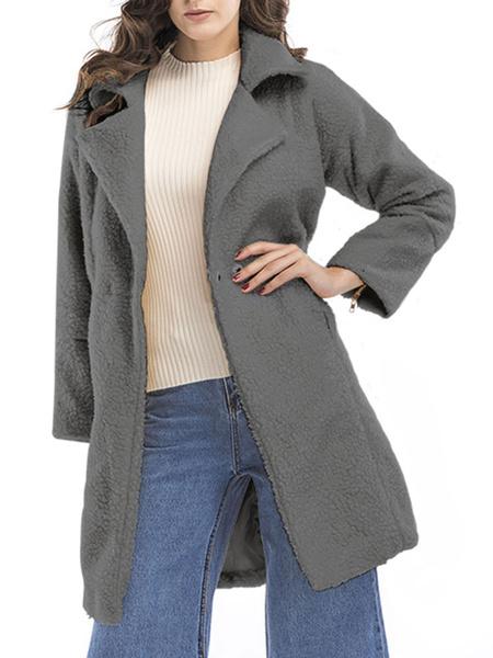 Milanoo Abrigo de invierno para mujer Cuello abierto blanco Abrigo de piel sintetica de manga larga