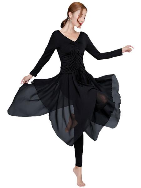 Milanoo Ballroom Dance Dress Women Black Long Sleeve Ruched V Neck Training Dancing Costume