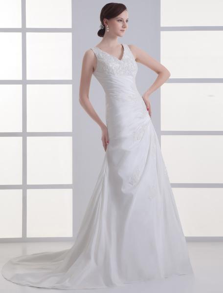 Milanoo Vestido de boda de color marfil de tafetan de linea A con escote en V
