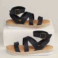 Strappy Open Toe Buckled Ankle Flatform Sandals