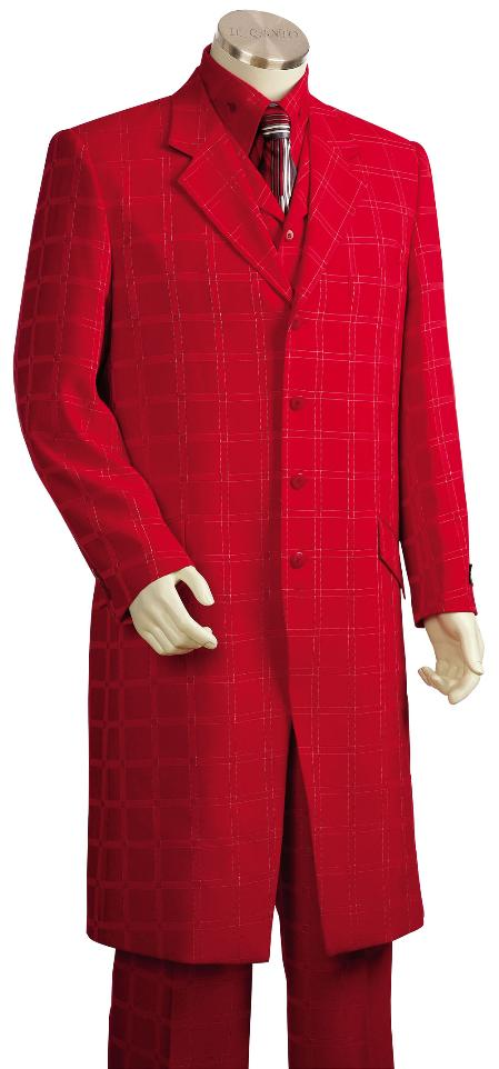 3 Piece 4 Button Hot Red Vest Zoot Suit and Shirt Tie Mens