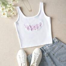Butterfly Embroidery Rib-knit Tank Top
