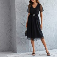 Dobby Mesh Overlay Frill Belted A-line Dress