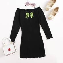 Girls Chinese Dragon Print Lettuce Trim Rib-knit Bardot Dress