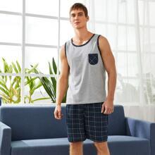 Conjunto de pijama de cuadros en contraste