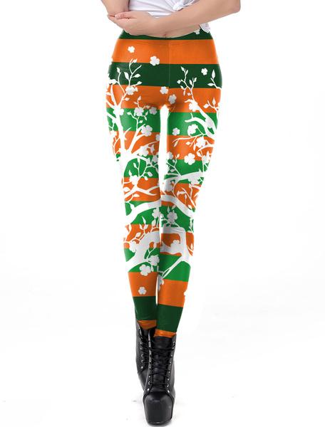 Milanoo St Patricks Day Leggings Green 3D Print Tights Women Skinny Pants Bottoms Halloween