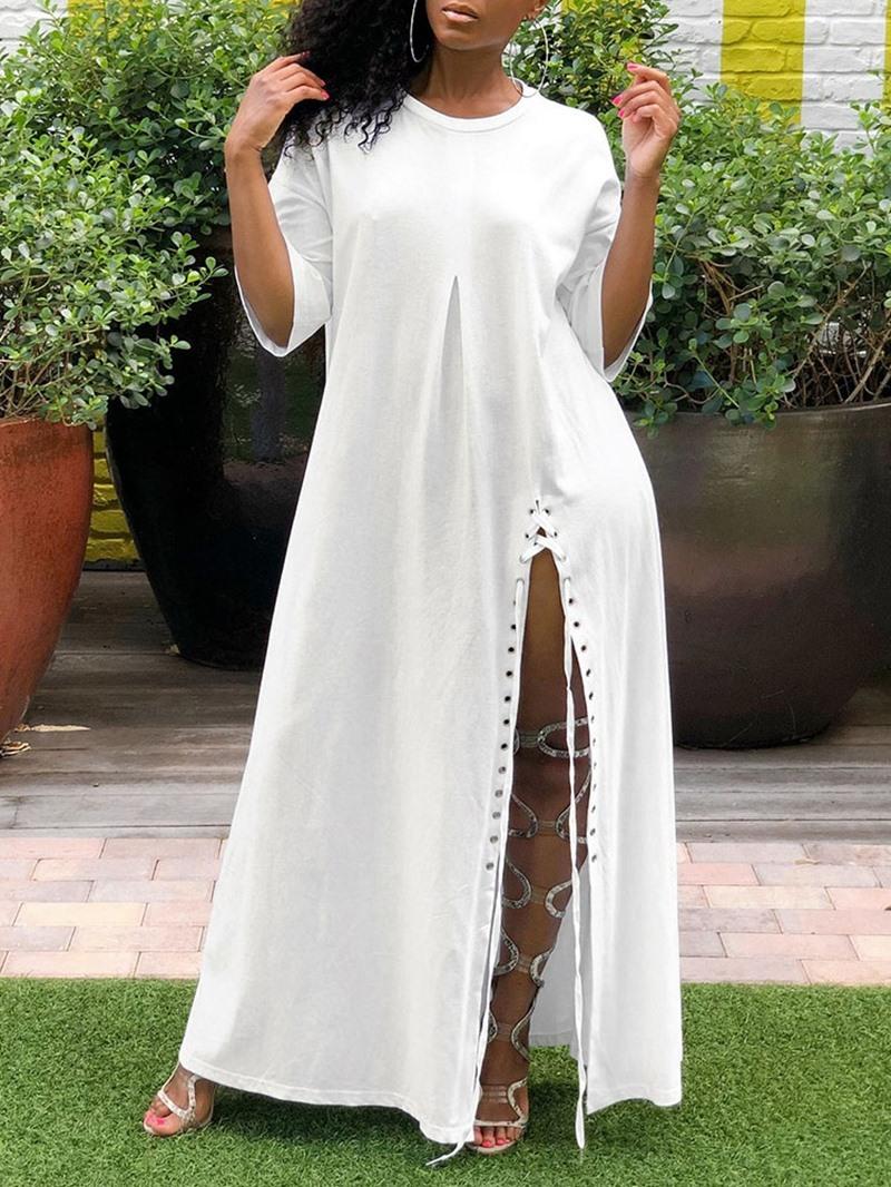 Ericdress Casual Split Round Neck Three-Quarter Sleeve Ankle-Length Dress