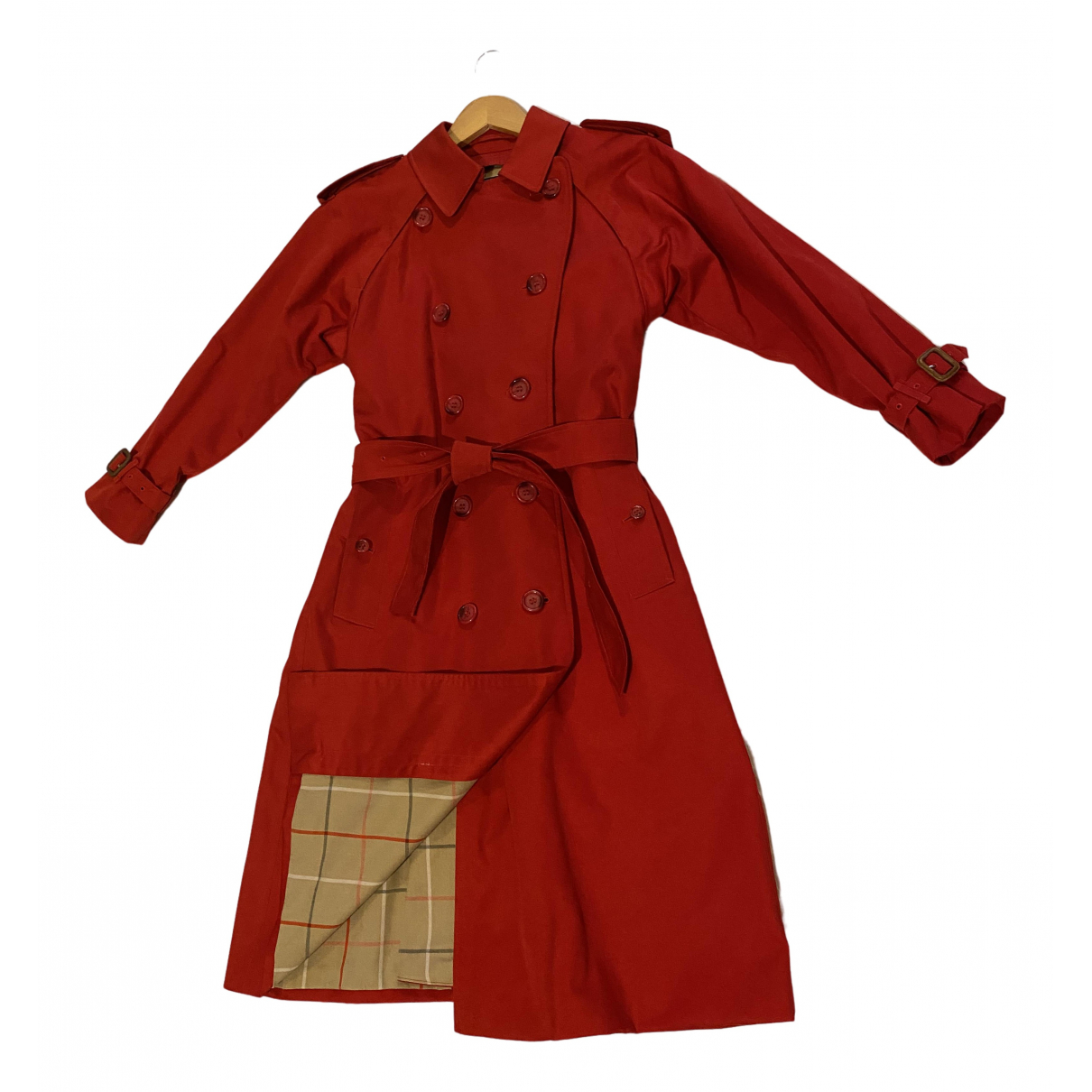Burberry N Red Cotton Trench coat for Women 6 UK