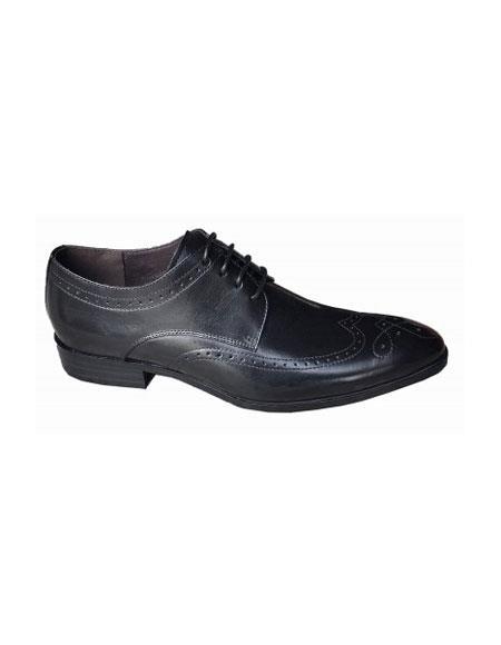 Mens Lace Up Four Eyelet Lacing Black Shoe