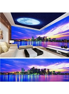Magnificent City Scenery and Night Sky Pattern Combined Waterproof 3D Ceiling and Wall Murals