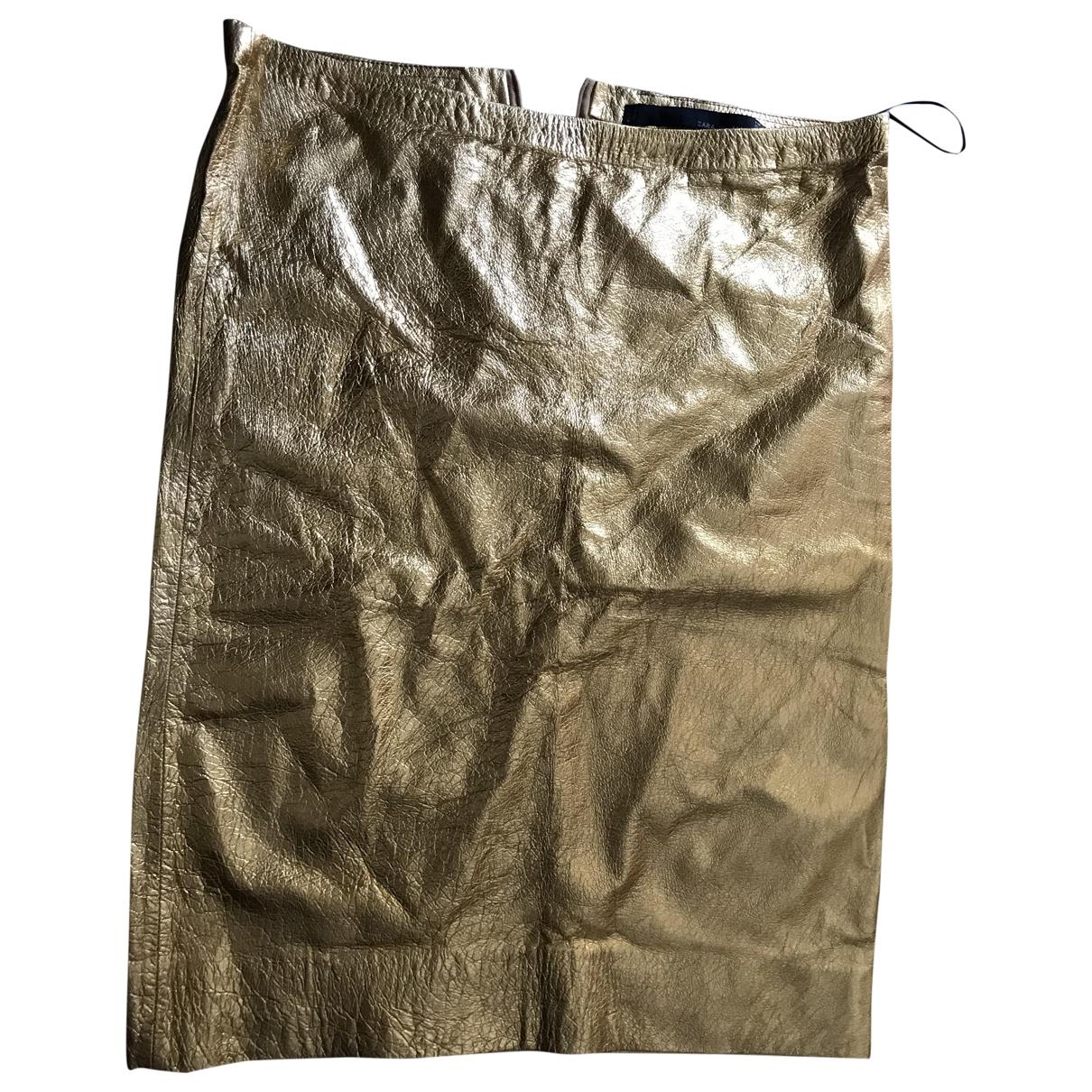 Zara \N Rocke in  Gold Leder