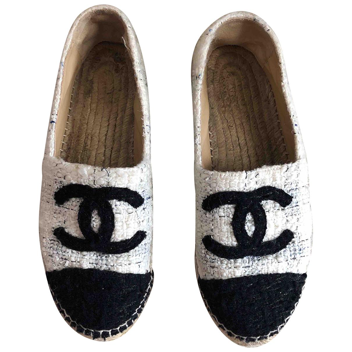 Chanel - Espadrilles   pour femme en toile - blanc