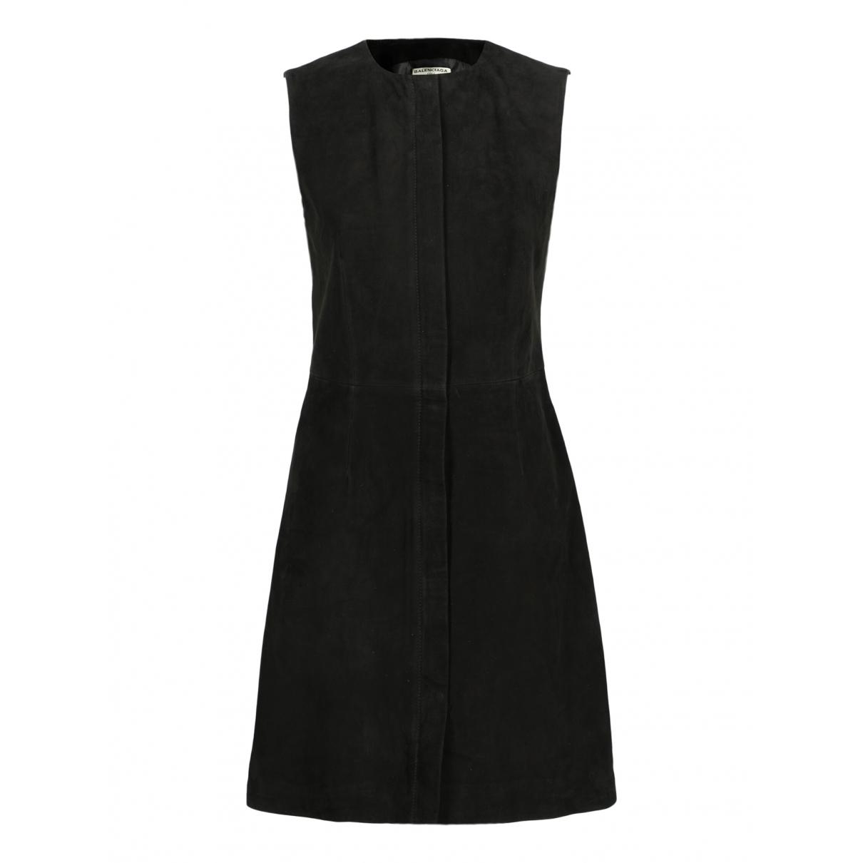 Balenciaga \N Kleid in  Schwarz Veloursleder