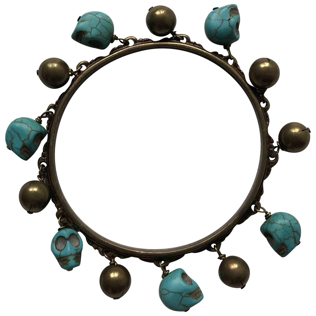Non Signé / Unsigned Turquoises Blue Metal bracelet for Women \N
