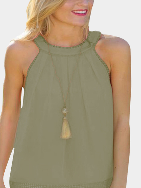 Yoins Green Hollow Out Back Lace Detail Tank Top